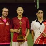 Men's Singles Left to Right: Presenting Trophy Graeme McInnes, Champion Antonio Li, 2nd Eugene Chan